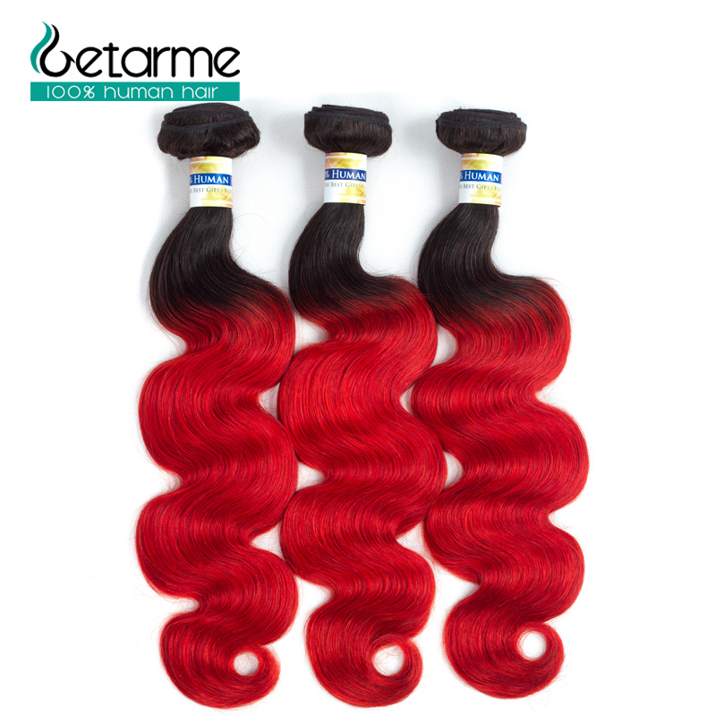 Pre colored 3 Bundles Ombre Brazilian Body Wave Hair Burgundy Bundles 1b/Red Color Non Remy Human Hair Weave Bundles