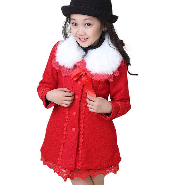 Roupas de Inverno 2016 das crianças de Moda da Longo-luva Espessamento Meninas Arco Decorar Casaco De Lã Outwear Elegent Menina Rendas Hem casaco