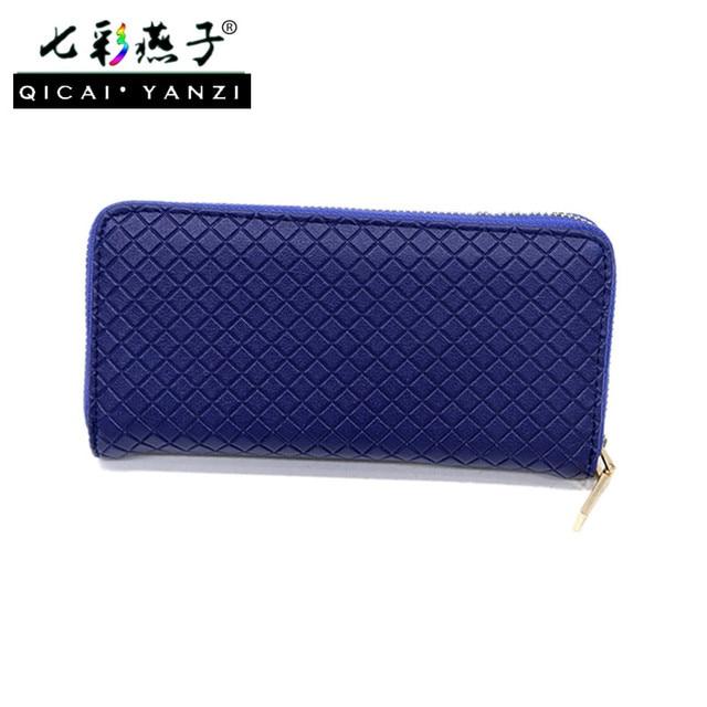 2017 New Women S Pu Grid Zipper Long Wallet Phone Holder Clutch