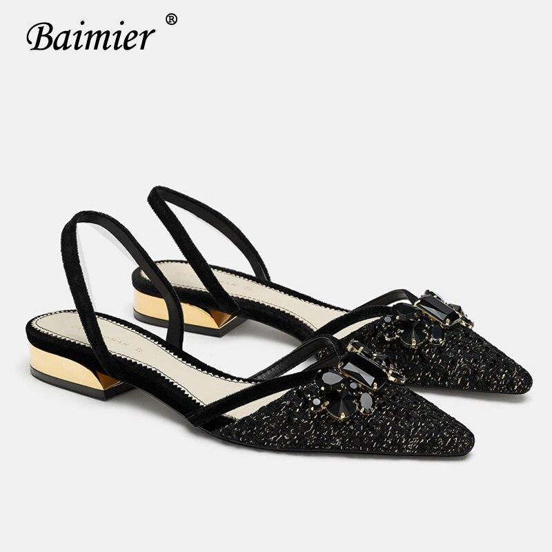 Baimier Luxury Black Crystal Women Flat Sandals Slingback Gold Heel Women Sandals Pointed Toe Slip On Summer Mujer Sandale Femme