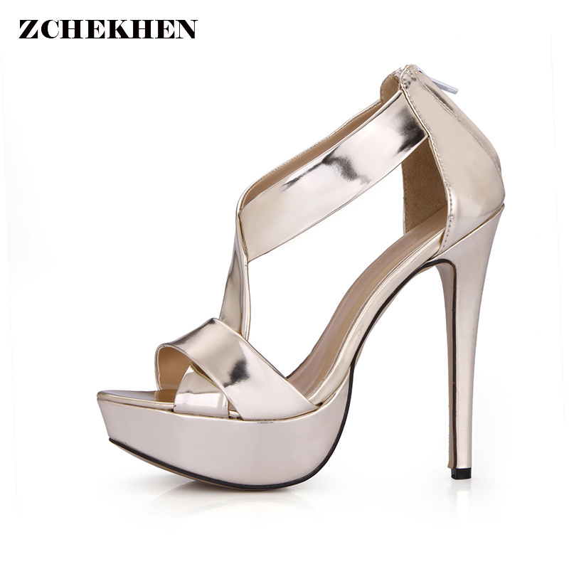 цена на Sexy Party Shoes Women Platform High Heels Sandals Fashion Gold Cross-strap Thin High Heel Ladies Shoes Summer Shoes 2018