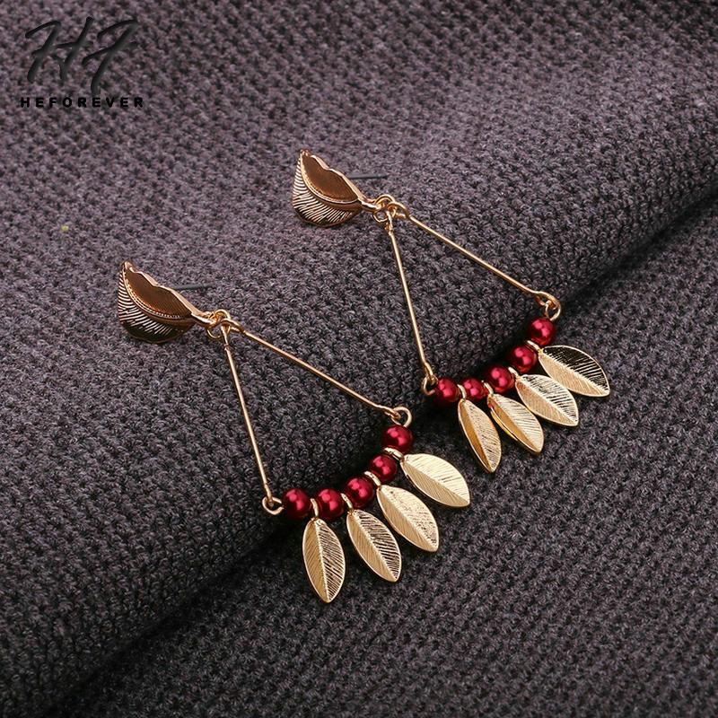 Серьги для Для женщин золото-Цвет Ретро кисточкой листья красный жемчуг колошения Модные украшения 2018 подарок для девочки KA309