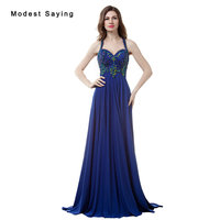 Luxury Blue A Line Sweetheart Beaded Evening Dresses 2017 with Rhinestone Sexy Long Women Night Party Prom Gowns robe de soiree