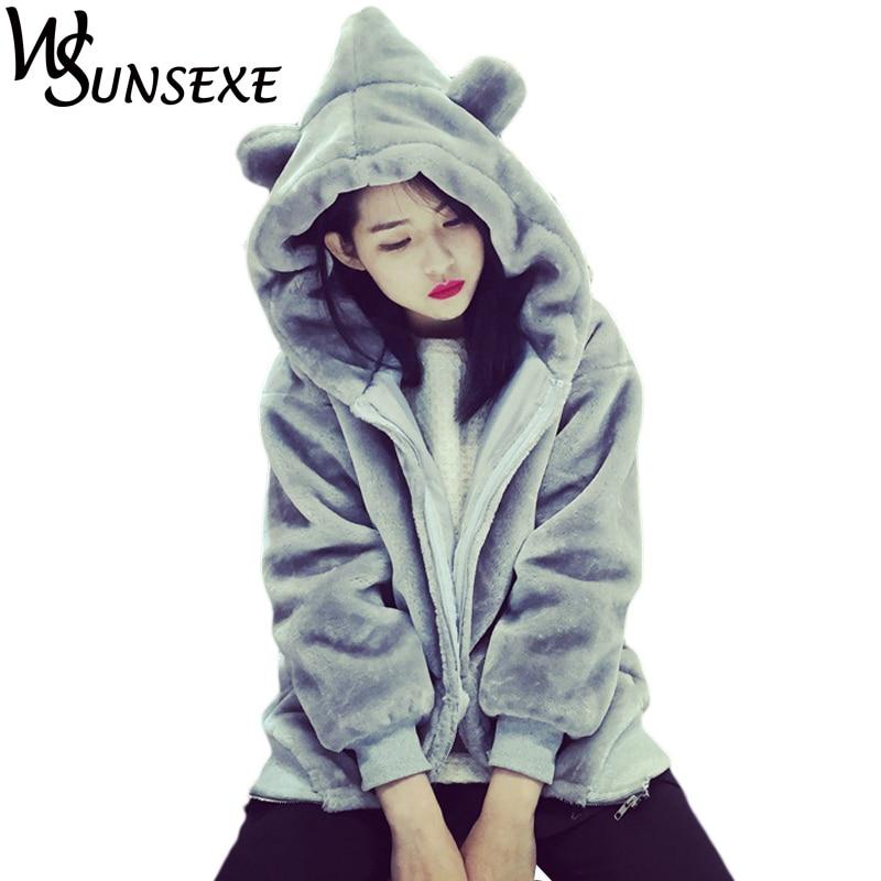 Warm Velvet Hoodies Women Winter Thicken Jumper Zipper Cute Fluffy Ear Hooded Sweatshirt Autumn Basic Soft Outwear Femme Tops