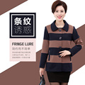 2017 new fashion XL to 4XL women blazers Striped jackets plus size spring cotton Single breasted Notched feminino long sleeve