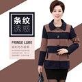 2017 nueva moda XL 4XL mujeres Muescas blazers chaquetas De Rayas más el tamaño de primavera de algodón de Un Solo pecho femenino de manga larga