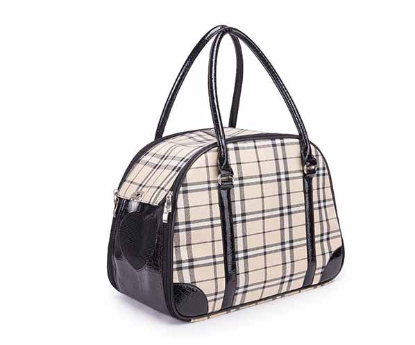 d7434d1c7a9 Vintage plaid Pet cat small dog Travel luxury pu leather Carrier bag  outdoor foldable portable dog Chihuahua carrying tote bag