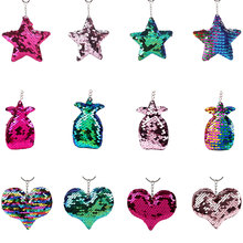 Reflective glossy five-pointed star keychain colorful sequins small star bag key ring pendant Unisex wild key accessories stylish five pointed star pattern small pompon pendant voile bib scarf for girls