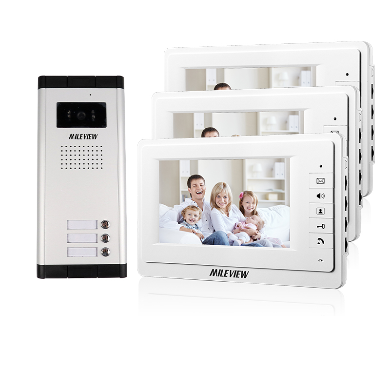 FREE SHIPPING New 7 Video Intercom Apartment Door Phone System 3 White Monitors + 1 HD Camera for 3 House In Stock Wholesale brand new apartment intercom entry system 3 monitor 7 hd color video door phone doorbell intercom system 3 houses free shipping