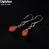 Uglyless Simple Fashion Natural Gemstone Magnolia Flower Earrings Women Real Solid 925 Silver Floral Fine Jewelry Agate Number 8