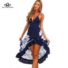 2018 Весна-осень новый европейский стиль синий белый глубокий v-образным вырезом без рукавов Сексуальная цветочным принтом оборками Длинные женские синий пляжное платье