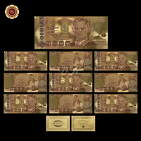 WR 10pcs/lot Thailand Gold Banknote 1000 Baht Banknote In 24K Gold Plated Currency Banknotes Paper Money for Collection