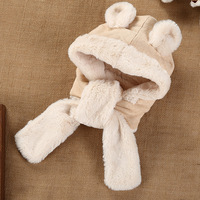 The Baby Accessories Winter Long Side Lacing Plush Plush Cartoon Animal Bear Ear Cute Baby Hat