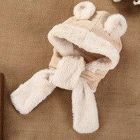The Baby Accessories Winter Long Side Lacing Plush Plush Cartoon Animal Bear Ear Cute Baby Hat