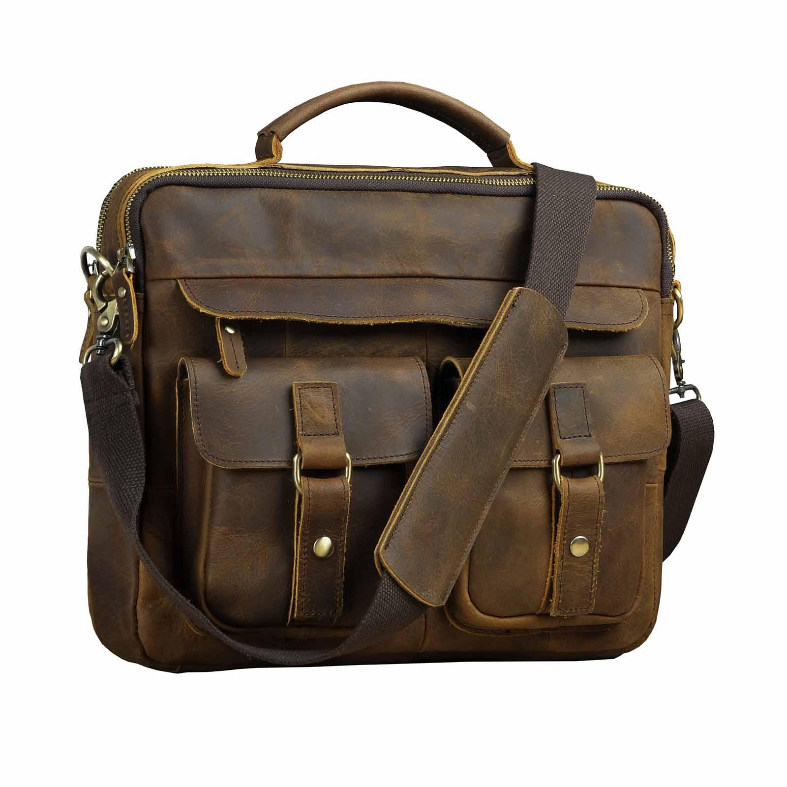 Travel Shoulder Bags Laptop Bag Men Leather Genuine Briefcase Computer Bags For Men Messenger Bag Purse 2019 New Fashion