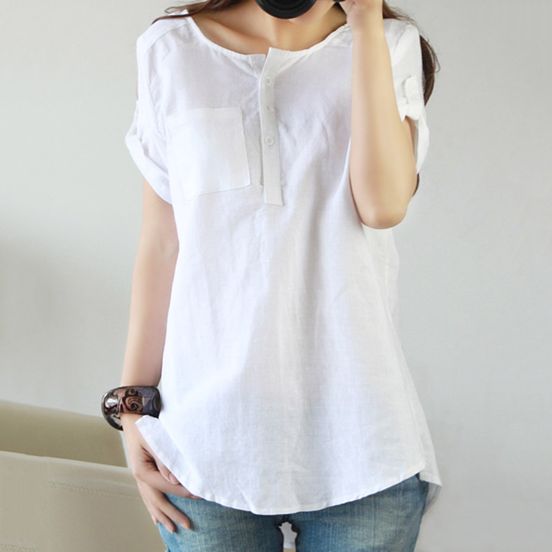 Mode Frauen Bluse Flaxen Solid Color Kurzarm Hemd Sommer Damen Mädchen Blusen  Lose Beiläufige Oberseiten Plus Größe 99 J in Mode Frauen Bluse Flaxen  Solid ...