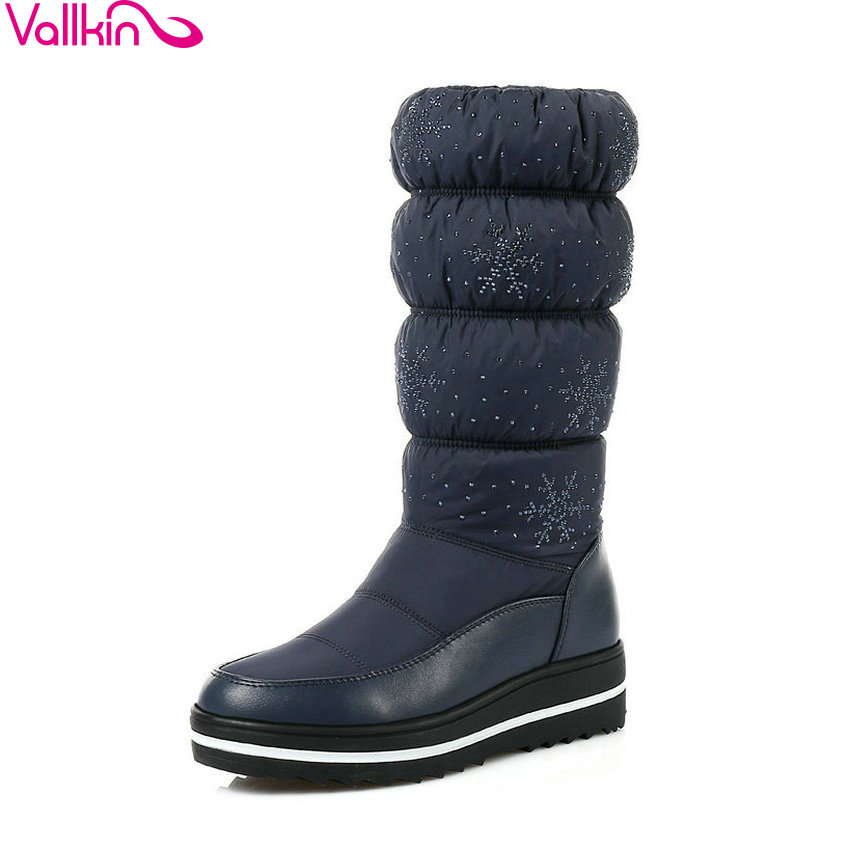 VALLKIN 2018 Cod Winter Mid-calf Boots Keep Warm Women Boots Black Blue Plush Snow Boots Wedges Med Heel Lady Boots Size 35-43 fawn warm women s snow boots ming blue size 37
