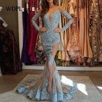 Lebanon Couture Evening Dresses Dubai Turkish Arabic Sexy Long Formal Gowns Dusty Blue Evening Dress Sleeves Robe de soiree