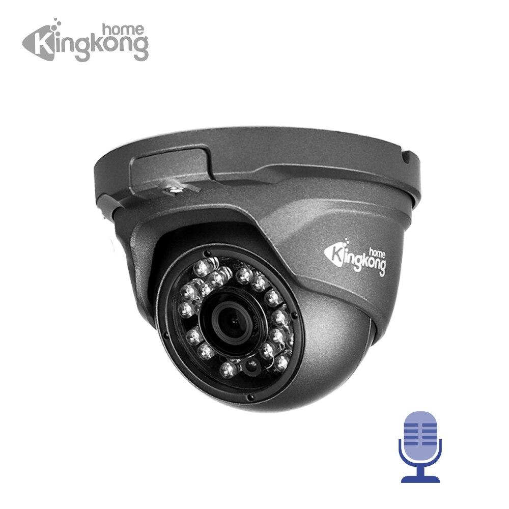 Kingkonghome IP Camera 48V POE Metal 1080P ONVIF Network Security Camera CCTV Motion Detection Waterproof Outdoor Audio Camera