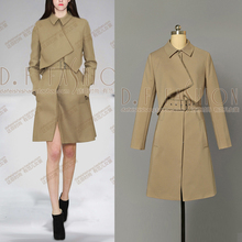Trench Coat Trench Coat Autumn Long Sleeved Shirt Collar Waist Retro Dress Women A Pendulum Type Fake Two Piece Free Shipping