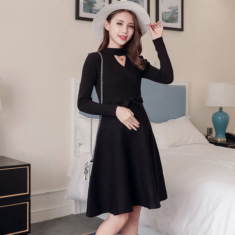 Pregnant Women Sweater Dress 2018 Autumn Knitted Long Sleeve Maternity Dresses Elastic Knitted Winter Dress Pregnancy Clothes round neck ladies sweater dresses cotton knitted 2018 summer womens mini dresses long sleeve party dress robe longue femme q1