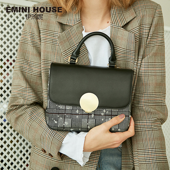 EMINI HOUSE Plaid Patchwork Padlock Top-Handle Bags Split Leather Luxury Handbags Women Bags Designer Crossbody Bag For Women Handbags