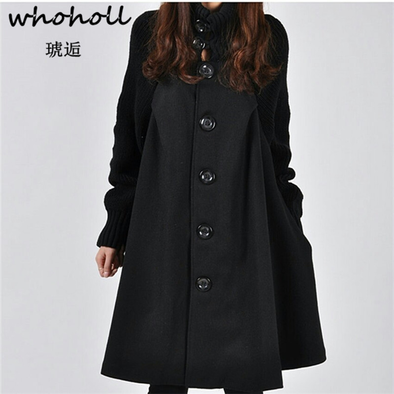 Whoholl Fashion Long Sleeve Hooded   Trench   Coat 2018 Autumn Black Zipper Plus Size 5XL Velvet Long Coat Women Overcoat Clothes