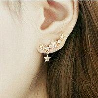 2017 New Arrival Promotion Unisex Earings Brincos Women's Five-pointed Star Pendant Ear Studs Piercing Earrings Fancy
