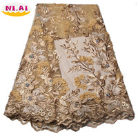 Gold French Sequins 3D Beaded Lace Fabric Embroidered Flower Tulle Lace Fabric Lace Trim Nigerian African