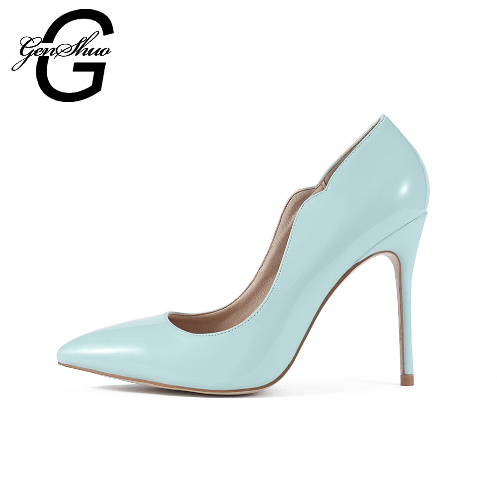 GENSHUO 2017 Zapatos Mujer Brand Shoes Woman High Heels Women Pumps Stiletto Thin Heel Women's Sea Blue Pointed Toe Size 35-41