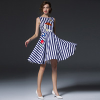 2018 Spring Summer Slim Blue White Stripes Sleeveless Cotton Elegant Embroidery Flower Hot Girl Beach Umbrella