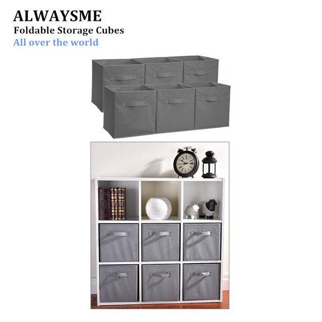 ALWAYSME Foldable Cloth Storage Cube Basket Bins Organizer Containers  Closet Drawers Storage Cubes Foldable Fabric Bins