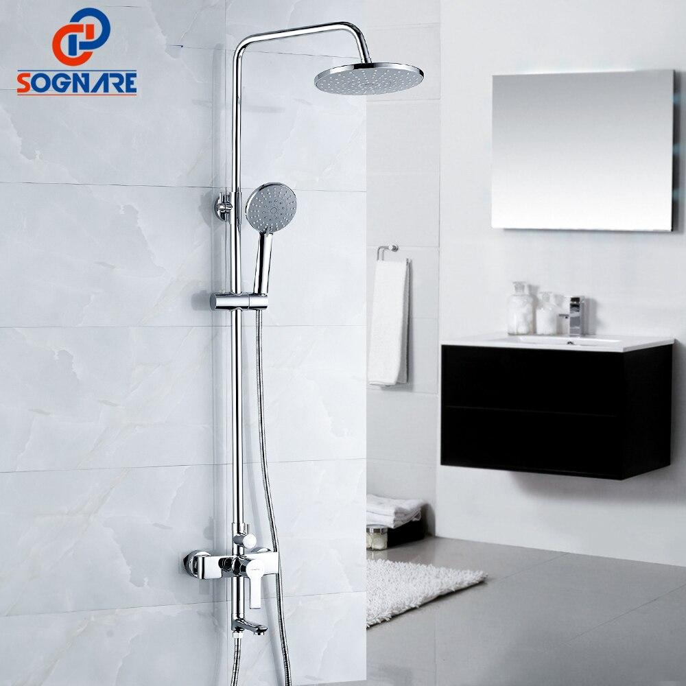 SOGNARE Bathroom Fixtures Rain Shower Faucet Set Bathtub Faucet Waterfall Rain Shower Head Waterfall Big Rain Shower Head D7102 rain siemer soovin sulle head