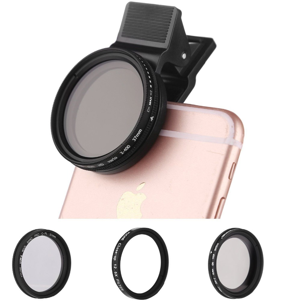 ZOMEI 3in1 Clip sur Pro CPL + gros plan + filtre fader ND2-400 pour objectif iphone Samsung
