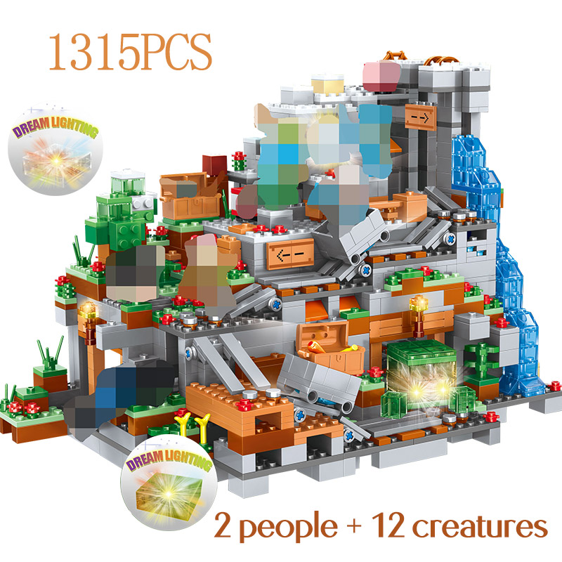 1315PCS My World Building Blocks Compatible LegoINGLYS Minecrafted Mountain Cave Figures Module Bricks Toys For Children1315PCS My World Building Blocks Compatible LegoINGLYS Minecrafted Mountain Cave Figures Module Bricks Toys For Children