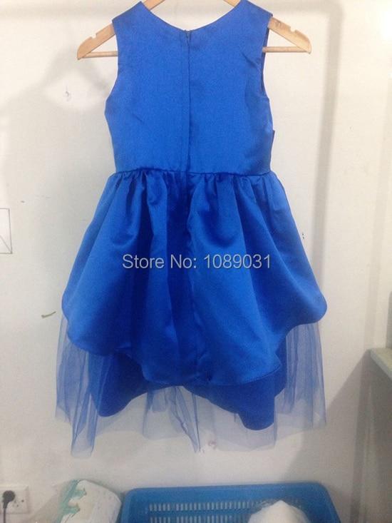 New Arrival Flower Girl Dresses with Flower Blue Party Pageant Communion Dress Little Girls Kids/Children Dress for Wedding