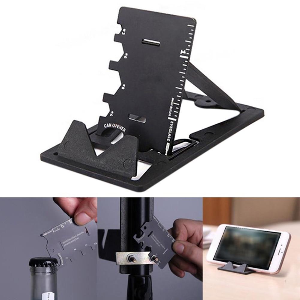 Stand Tool Mini Portable Stainless Steel Practical Phone Holder Folding Card Desktop Outdoor Bottle Opener 3 In 1 Bracket