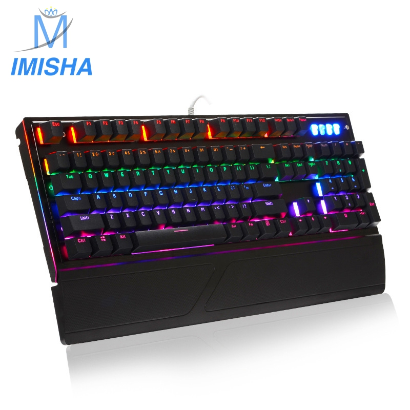 Imisha 2017 styles Rainbow color led backlight wired Waterproof Professional 104 keys Gaming Keyboard with white / black colors