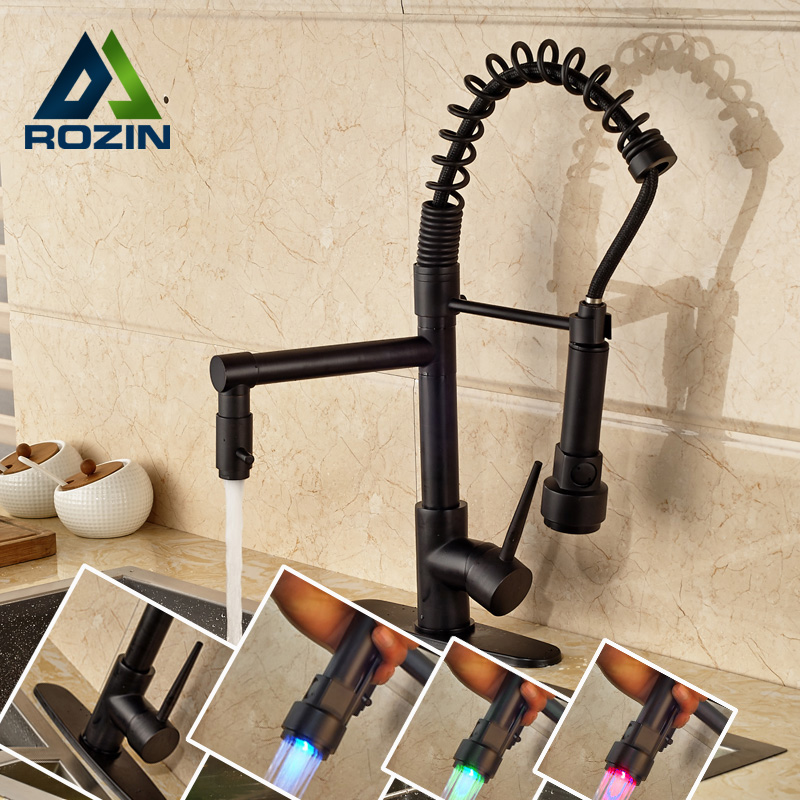 LED Light Kitchen Faucet Swivel Spout Spring Vessel Sink Mixer Tap Single Handle Oil Rubbed Bronze Finish new pull out sprayer kitchen faucet swivel spout vessel sink mixer tap single handle hole hot and cold
