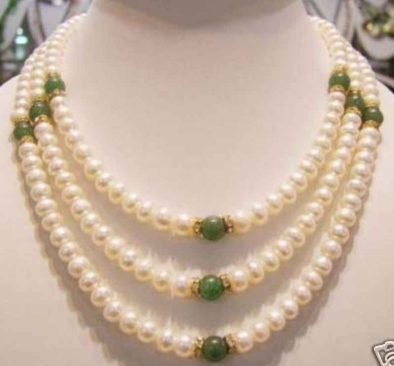 Hot sale Free Shipping Genuine 7 8 mm freshwater pearl and green jade necklace