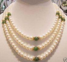 Venta caliente Del Envío Libre>>> Genuino 7-8mm de agua dulce de la perla y collar de jade verde