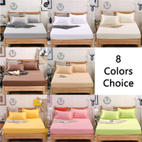 100% Cotton Bed Sheets Queen With Elastic Band Soft Pure Color Fitted Sheets Children Adult Mattress Cover White/Gray 8 Colors