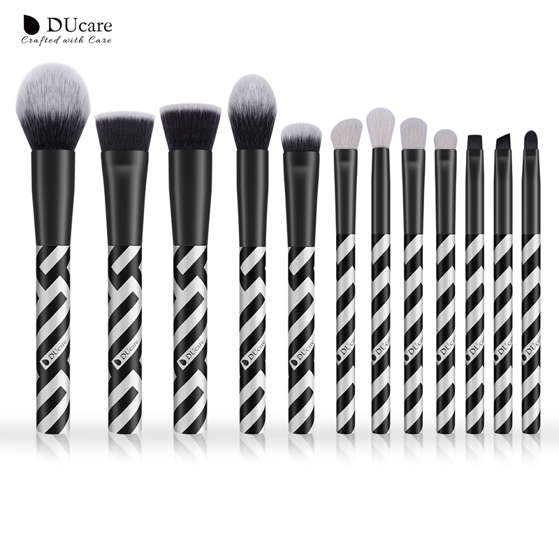 DUcare 12pcs New Makeup Brush Set High Quality Goat Hair and Synthetic Hair Professional Make Up Brushes Powder Foundation Brush ducare 15pcs makeup brushes set goat hair synthetic hair make up brush professional cosmetics kit with bag