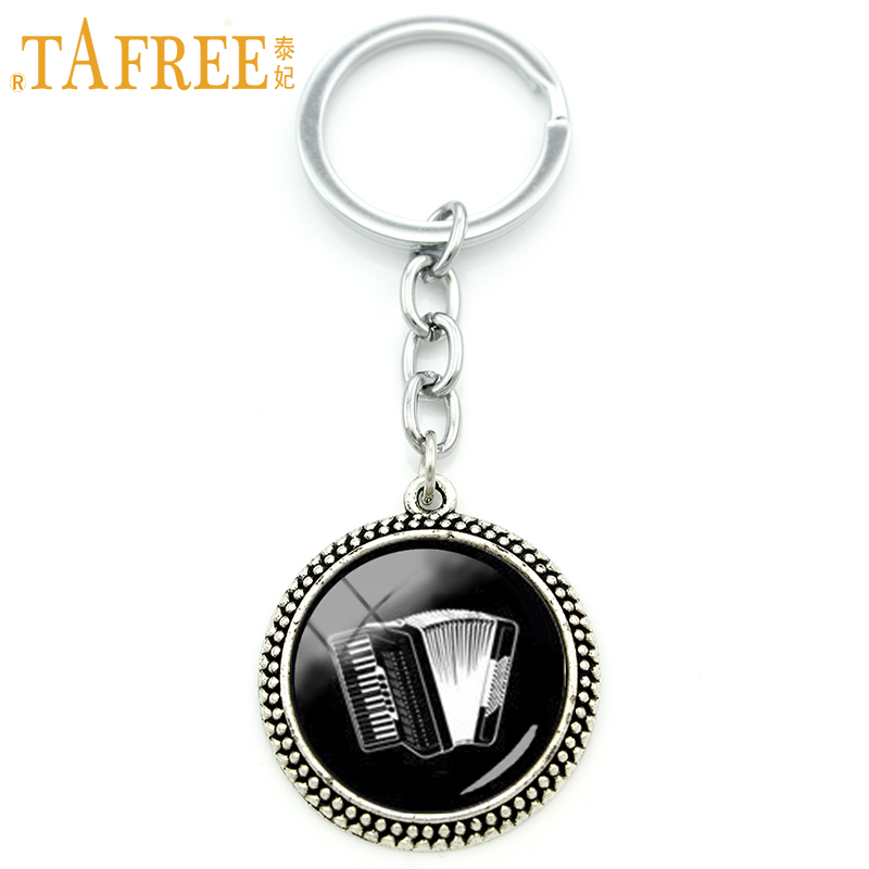 TAFREE Vintage accessories music keychain accordion musical instrument art pendant key chains ring jewelry musician gift KC514 image