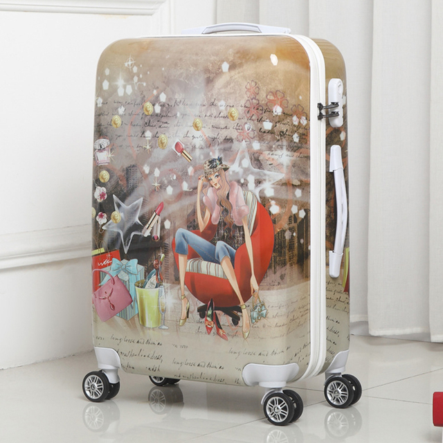 670cf69a8b76 BeaSumore Students Rolling Luggage 20 inch Spinner Suitcase Wheels Korean Women  Password Travel Duffle Cabin Trolley School Bag