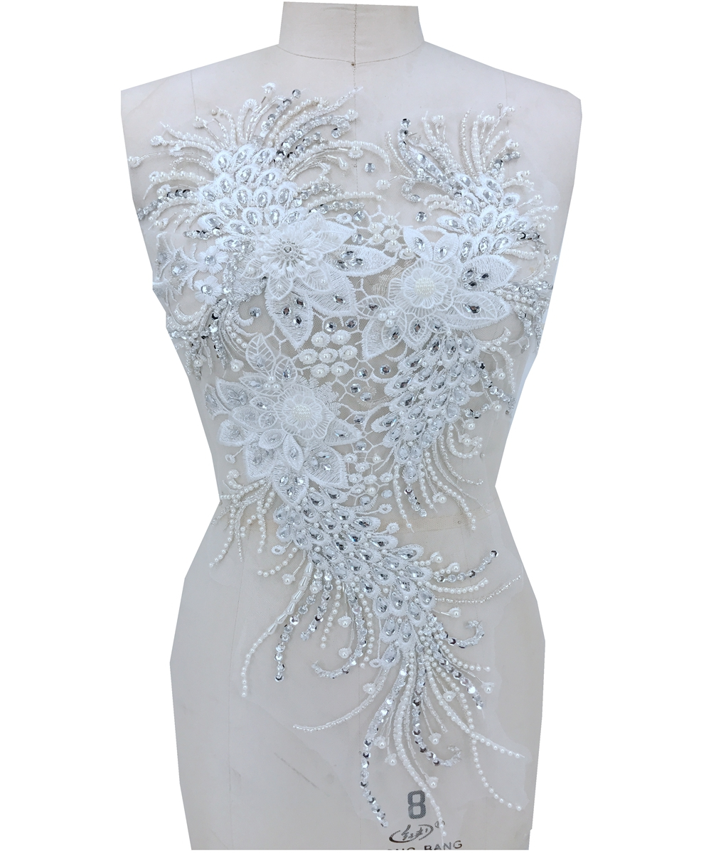 handsewing peal silver  Rhinestones ivory white lace applique trim patches 60*31cm for dress  skirt-in Patches from Home & Garden    1
