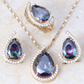 Glamorous Rainbow Mystic White Created Topaz Gold Plated Jewelry Sets Earrings Pendant Ring Free Gift Bag T110A