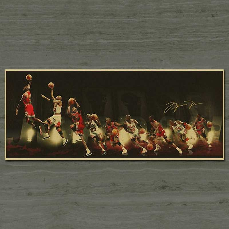 NBA star Basket Michael Jordan Poster Vintage Decorazione Antico Poster Da Parete Sticker Retro Matte Kraft di Carta 30x72CM
