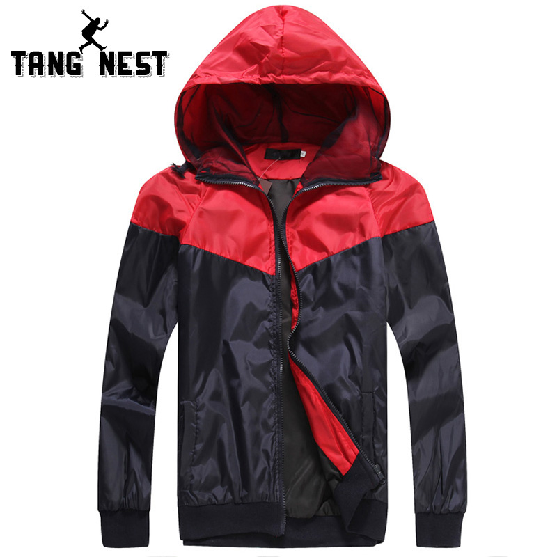 TANGNEST New Arrival Jacket Men 2018 Fashion Casual Thin Jacket Hooded Spring Autumn Men Jacket Patchwork Veste Homme MWJ2218