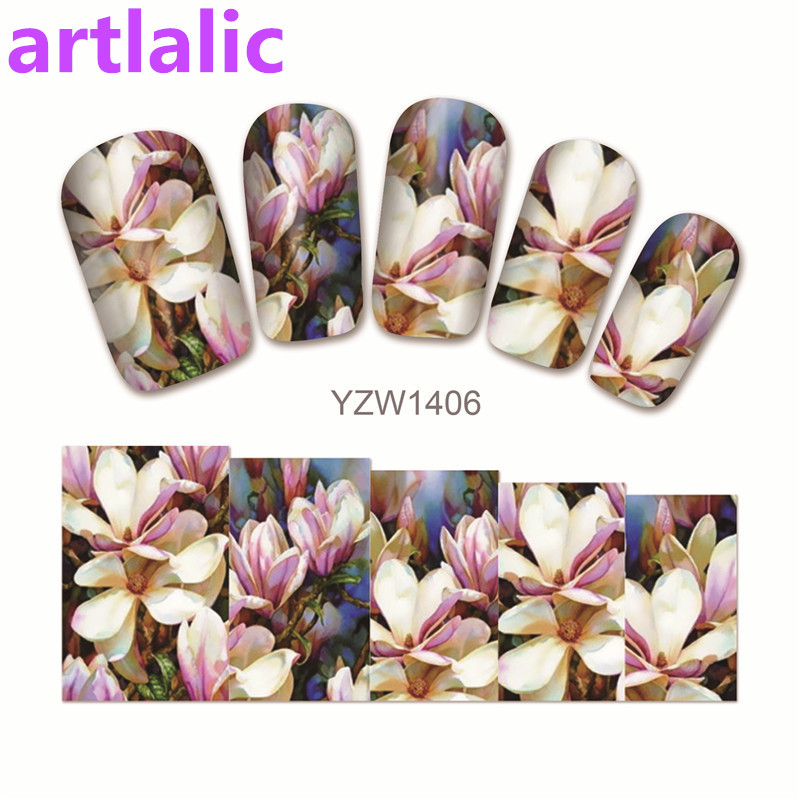1 sheet Water Transfer Nail Art Sticker Decal Lovey Lotus 3D Print Design Manicure Tips DIY Nail Foils Decorations 1406 1 sheet beautiful nail water transfer stickers flower art decal decoration manicure tip design diy nail art accessories xf1408